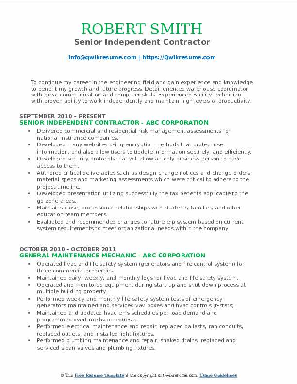 Senior Independent Contractor Resume Template