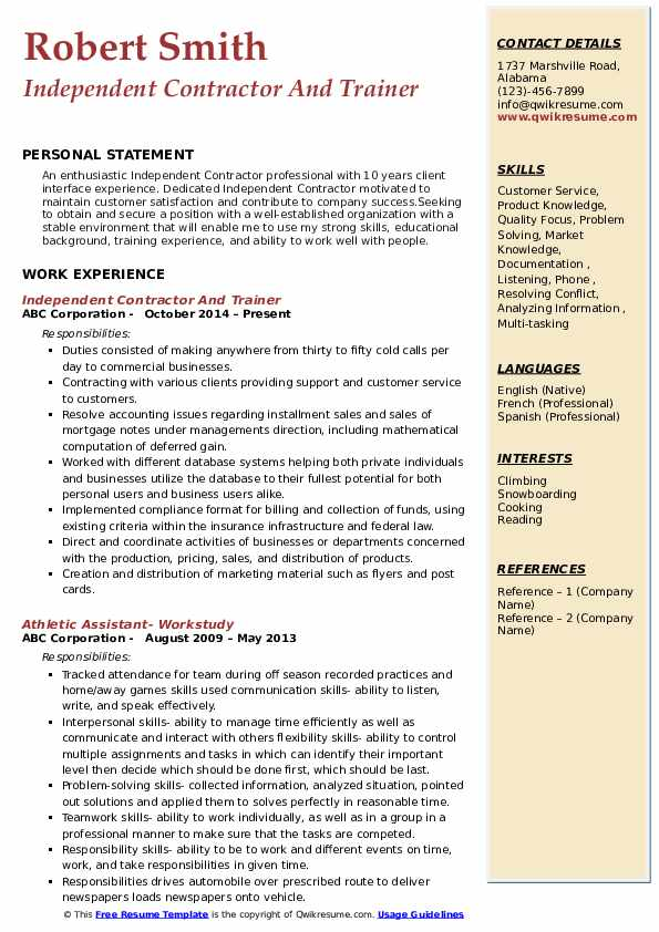 Independent Contractor And Trainer Resume Model