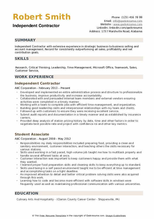 Independent Contractor Resume example