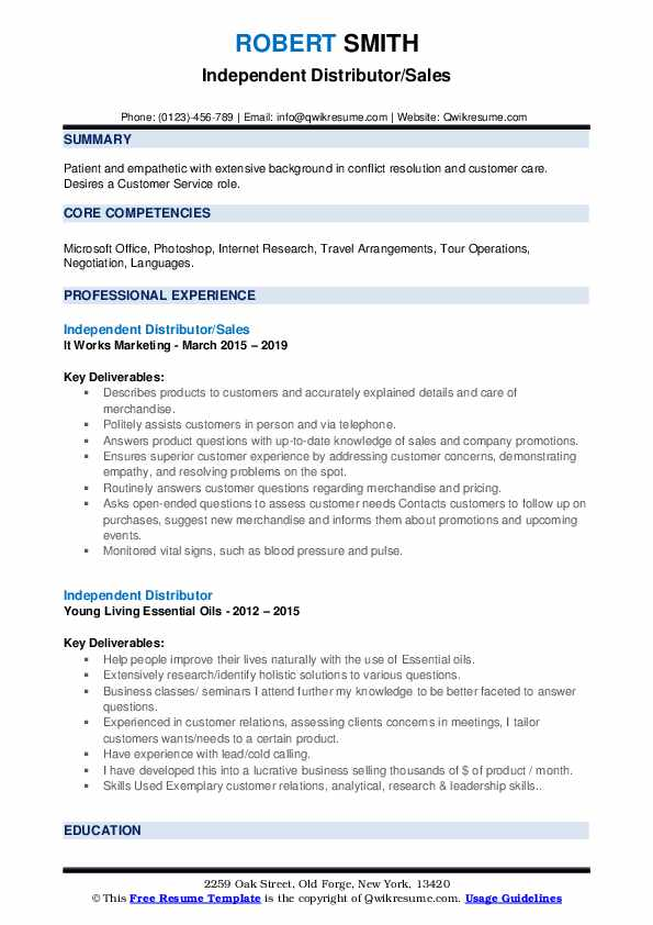 Independent Distributor/Sales Resume Format
