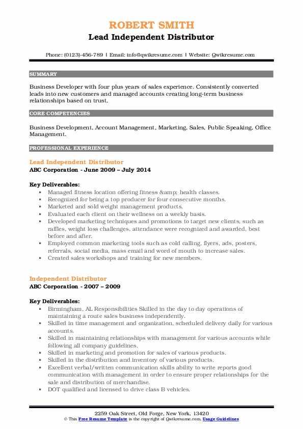 Lead Independent Distributor Resume Model