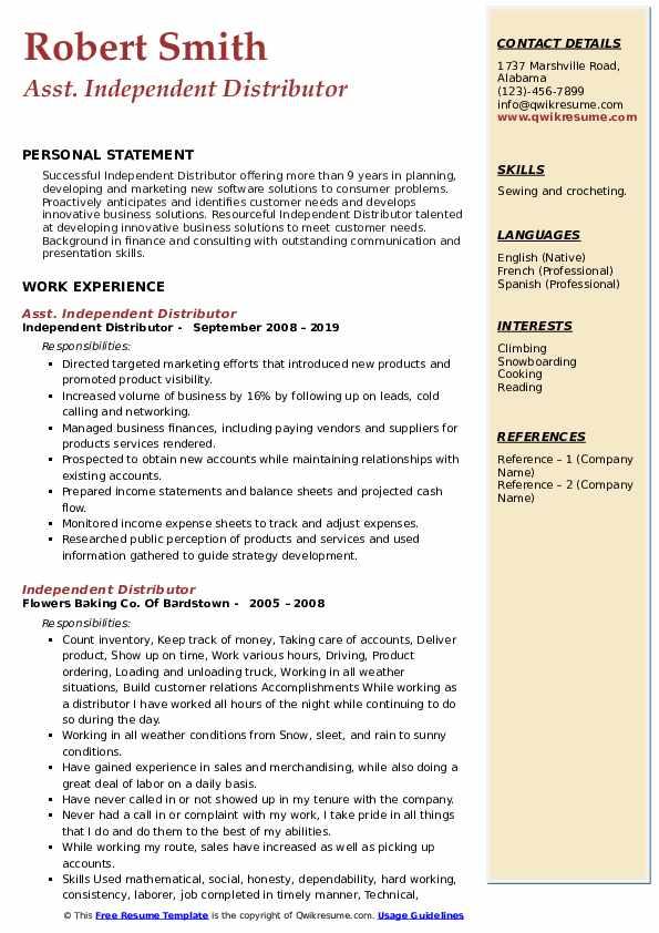 Asst. Independent Distributor Resume Sample