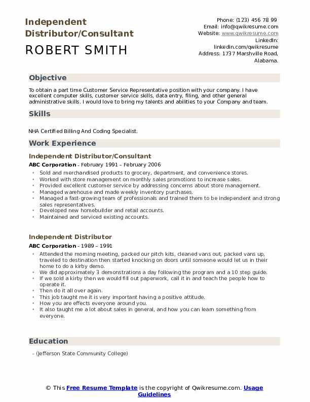 Independent Distributor/Consultant  Resume Template