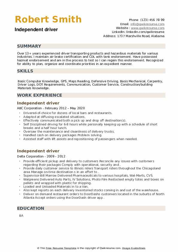 Independent driver Resume example