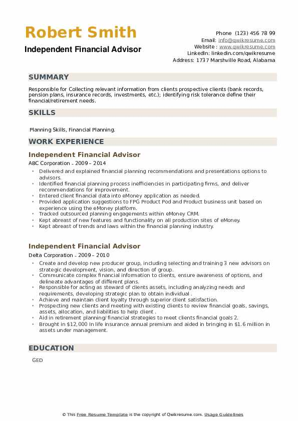 Independent Financial Advisor Resume example