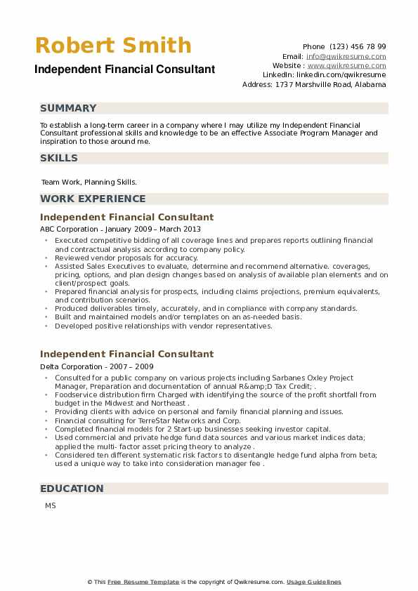 Independent Financial Consultant Resume example
