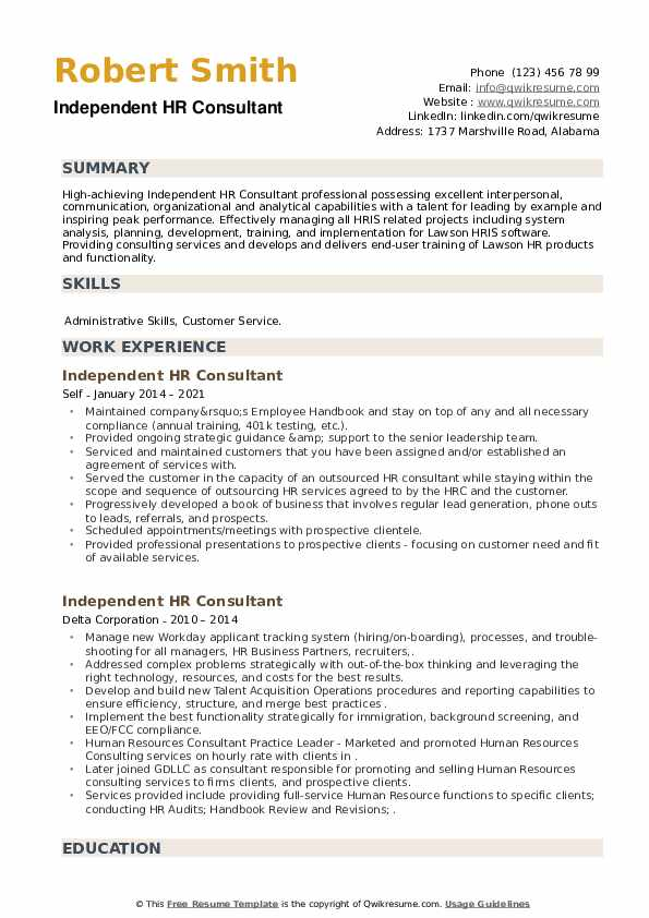 Independent HR Consultant Resume example