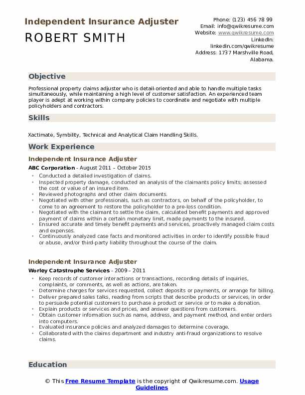 Independent Insurance Adjuster Resume Samples | QwikResume
