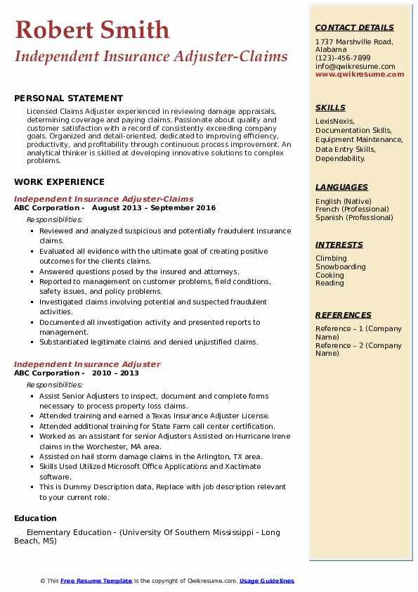 independent insurance adjuster resume samples
