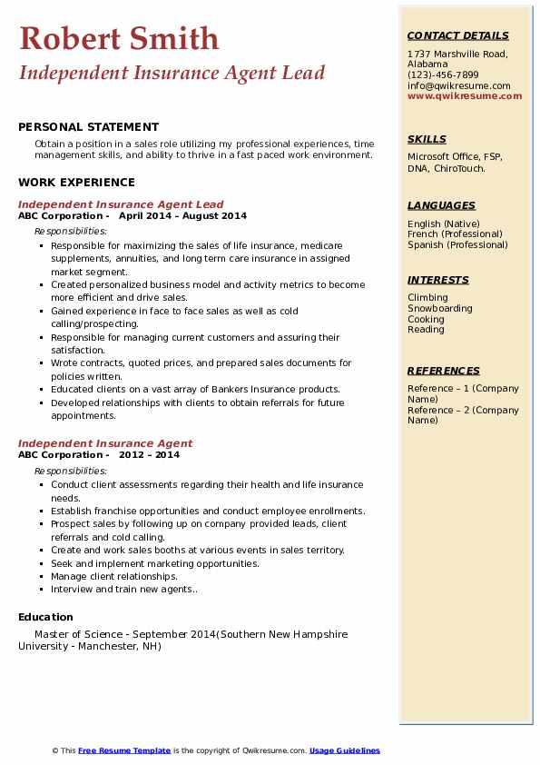 Independent Insurance Agent Resume Samples | QwikResume