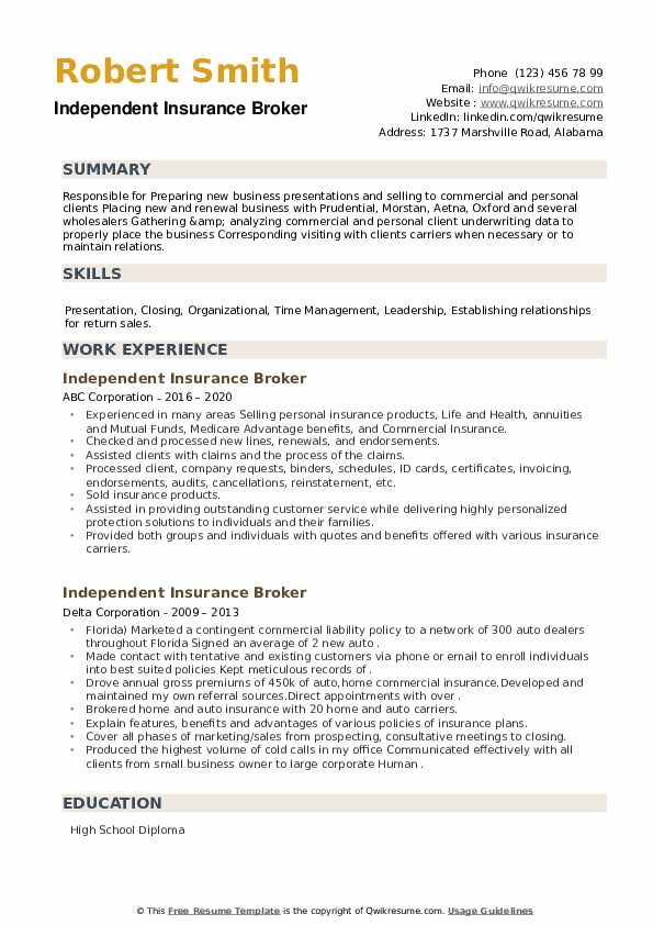 Independent Insurance Broker Resume example
