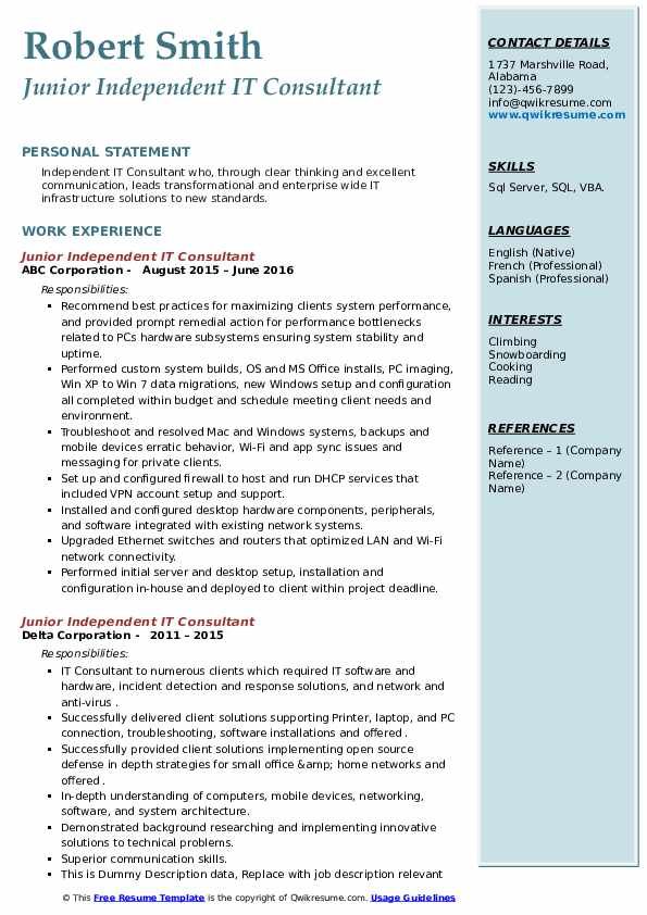 independent it consultant resume samples  qwikresume