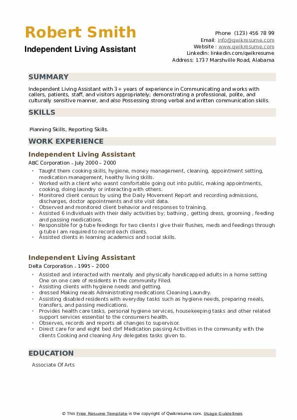 Independent Living Assistant Resume example