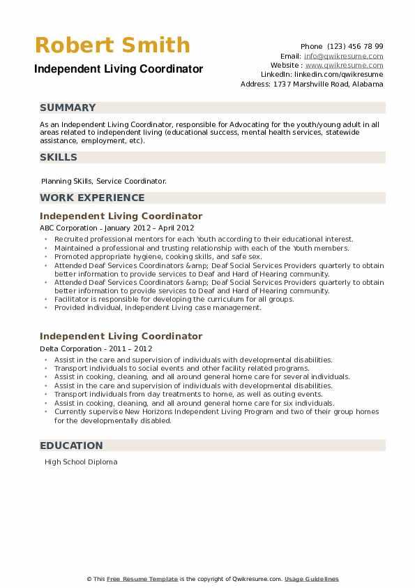Independent Living Coordinator Resume example