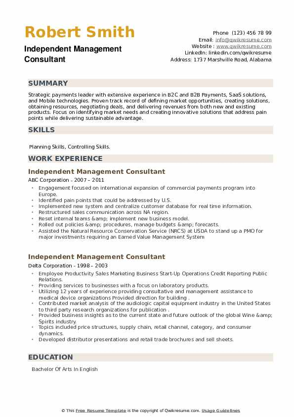 Independent Management Consultant Resume example