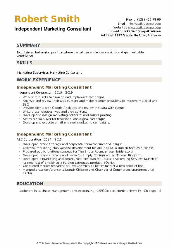 Independent Marketing Consultant Resume example
