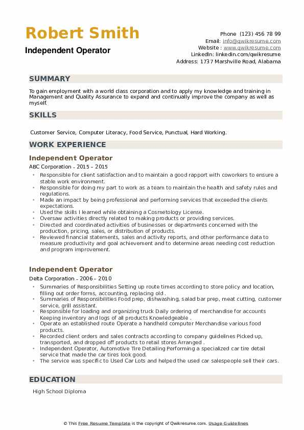 Independent Operator Resume example