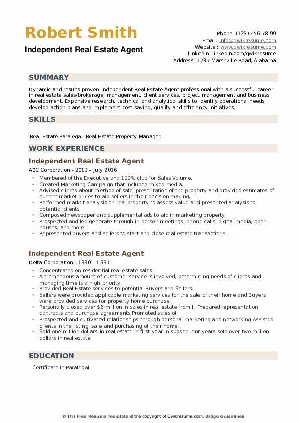 Independent Real Estate Agent Resume example
