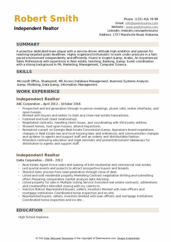 Independent Realtor Resume example