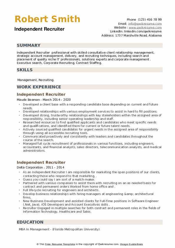Independent Recruiter Resume example