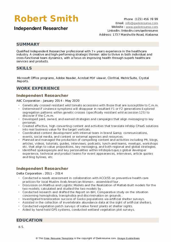 Independent Researcher Resume example