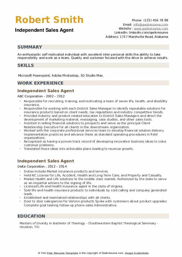 Independent Sales Agent Resume example