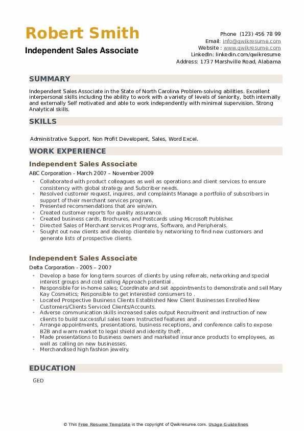 Independent Sales Associate Resume example