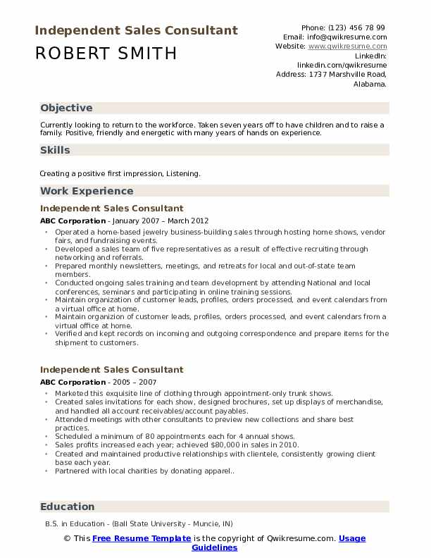 Independent Sales Consultant Resume Example