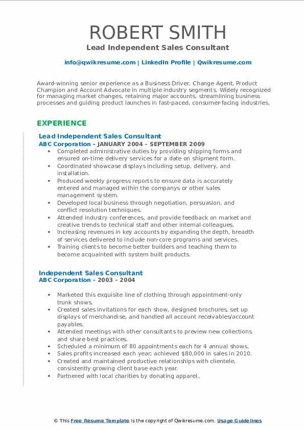 Lead Independent Sales Consultant Resume Sample