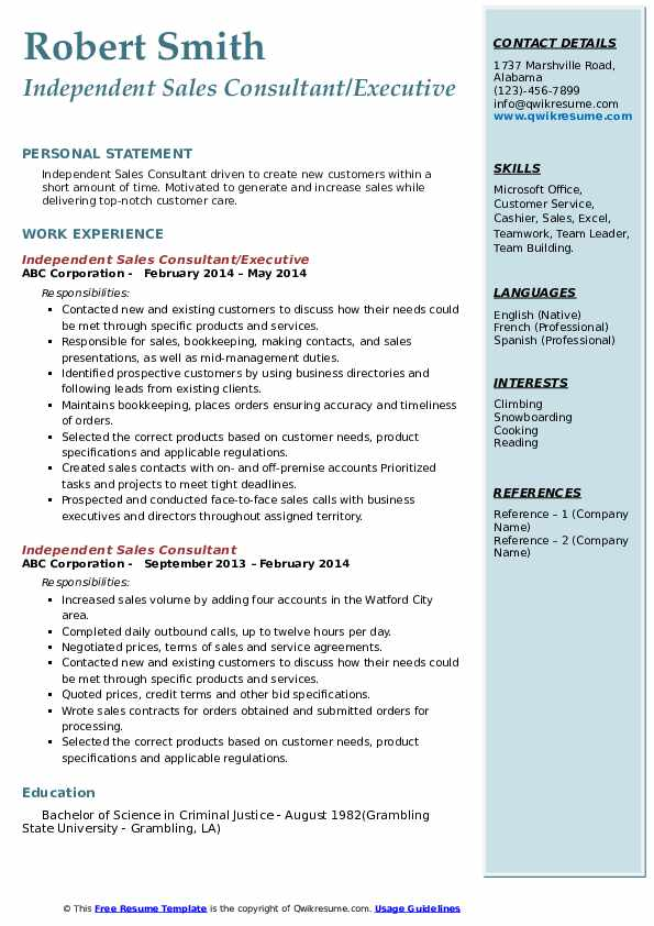 Independent Sales Consultant/Executive Resume Template