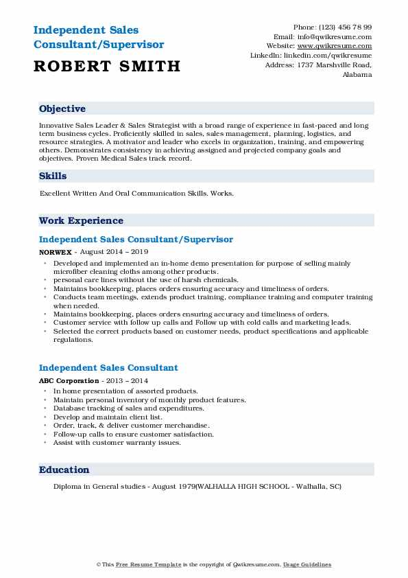 Independent Sales Consultant/Supervisor Resume Example