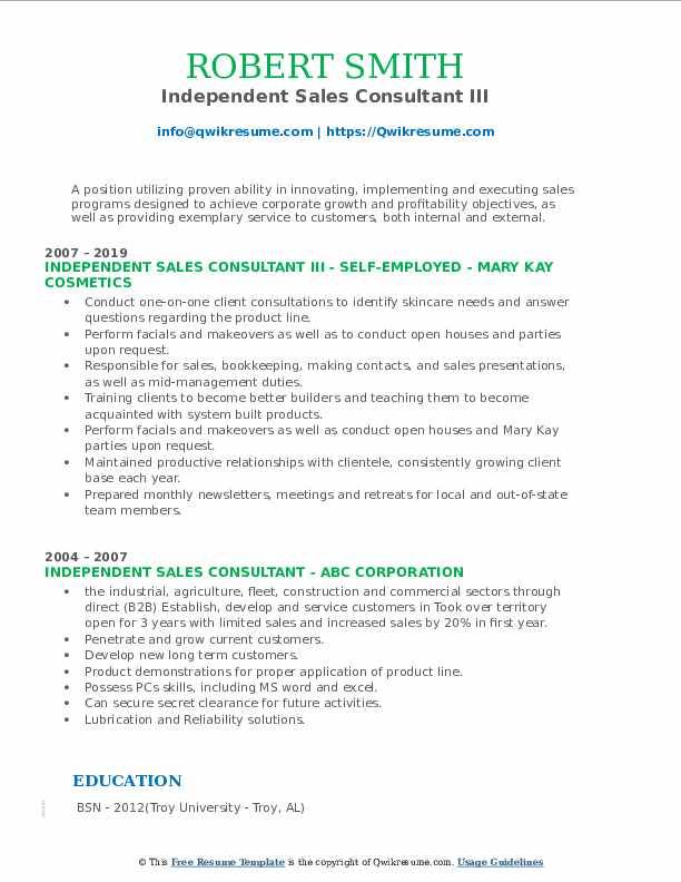 Independent Sales Consultant III Resume Format