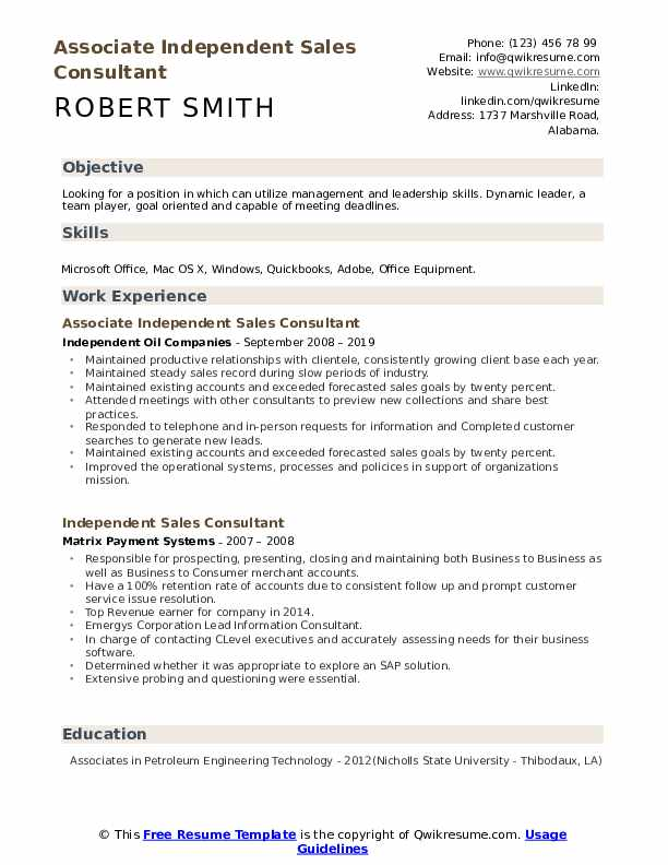 Associate Independent Sales Consultant Resume Sample