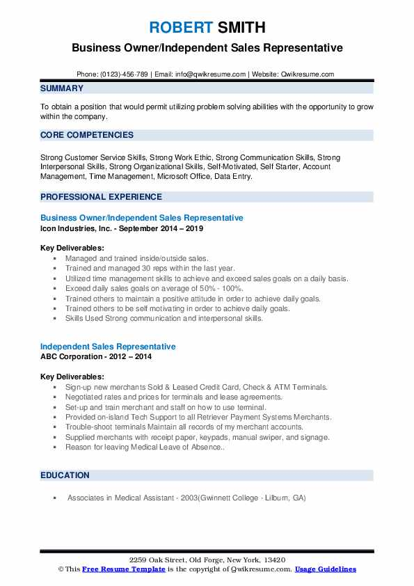 Business Owner/Independent Sales Representative Resume Template
