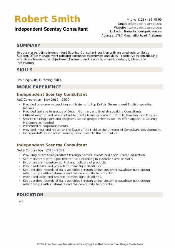 Independent Scentsy Consultant Resume example