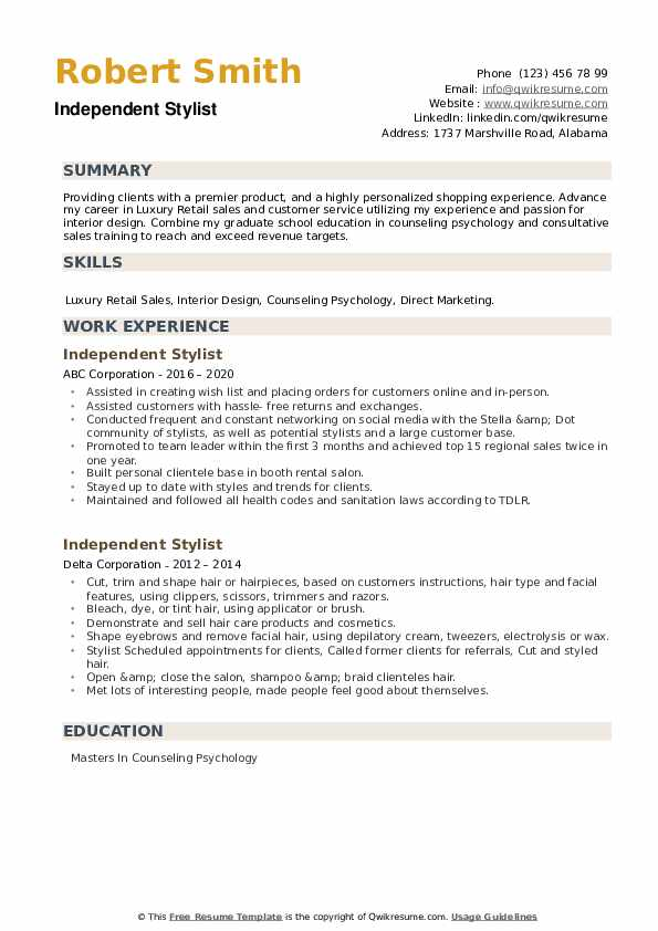 Independent Stylist Resume example