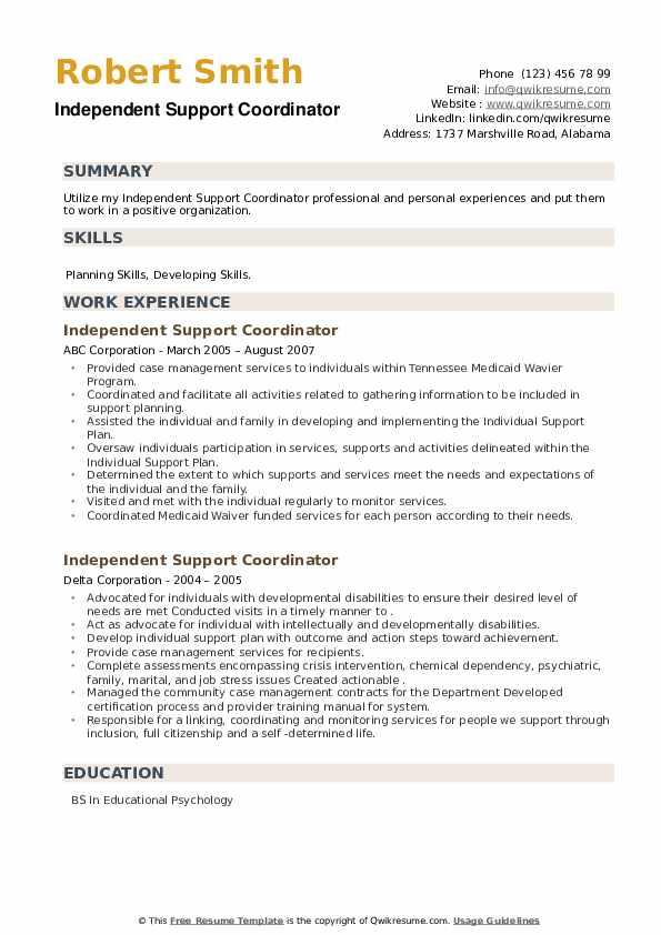 Independent Support Coordinator Resume example