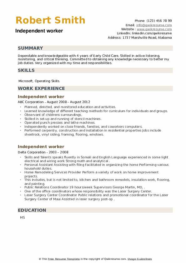 Independent worker Resume example