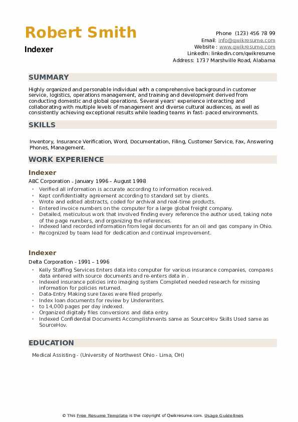 Indexer Resume example