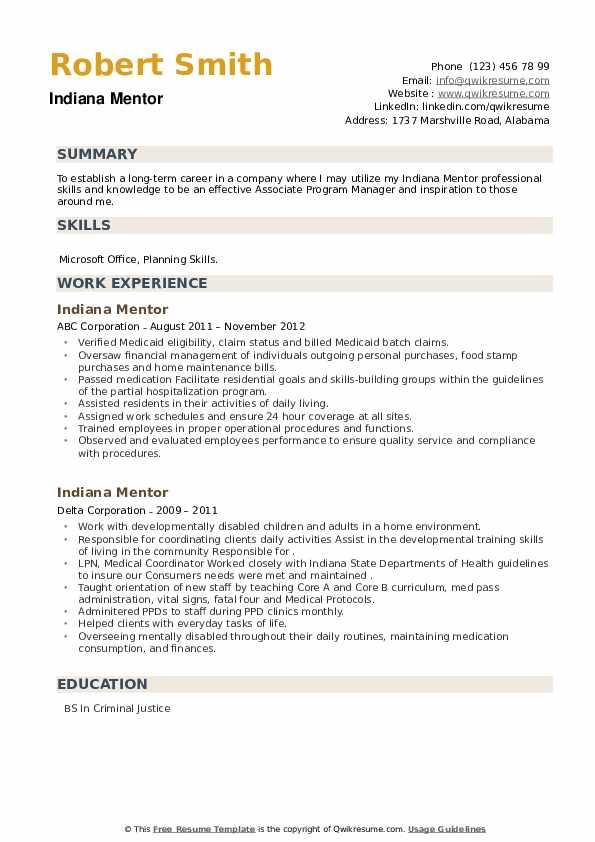 Indiana Mentor Resume example