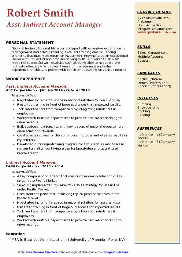Indirect Account Manager Resume example