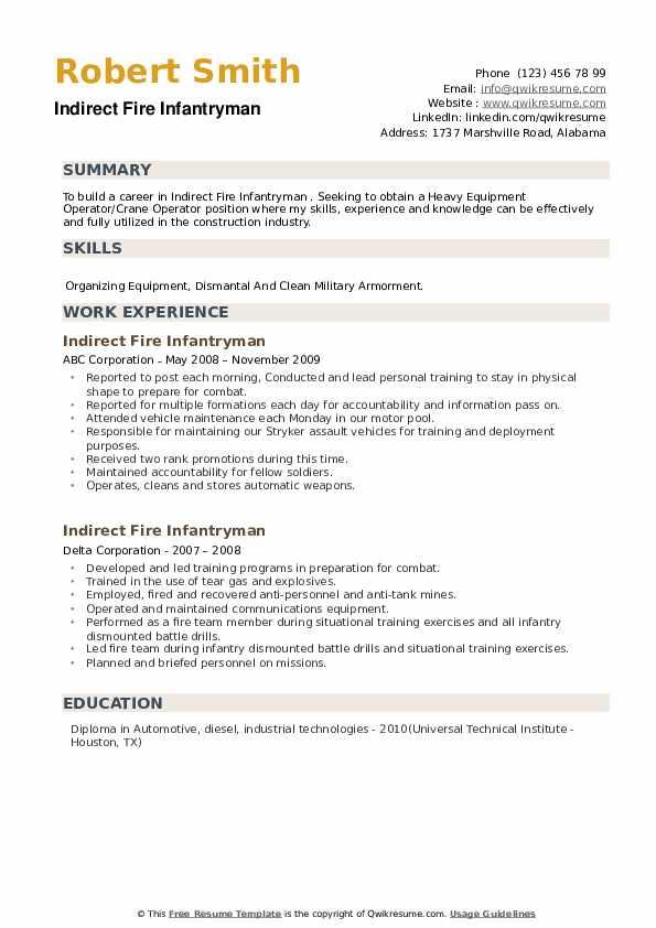 Indirect Fire Infantryman Resume example