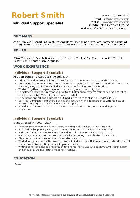 Individual Support Specialist Resume example