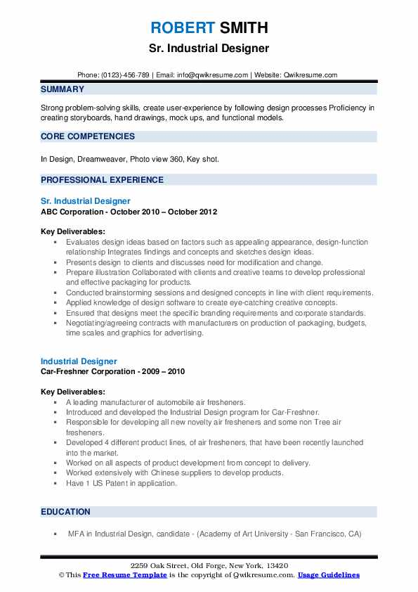 industrial designer resume samples