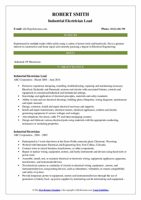 Industrial Electrician Resume Samples Qwikresume
