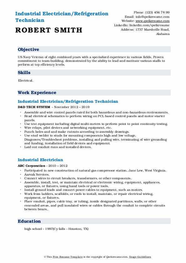 Industrial Electrician/Refrigeration Technician Resume Format