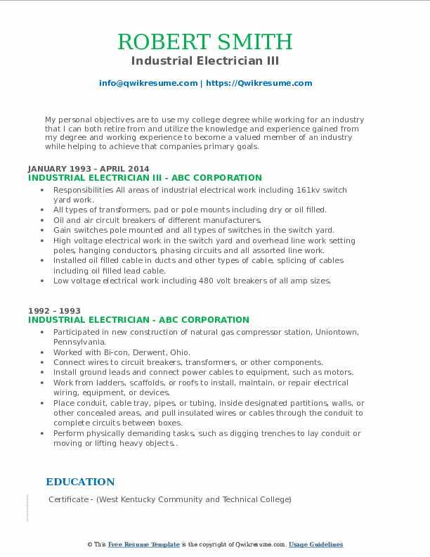 Industrial Electrician III Resume Model