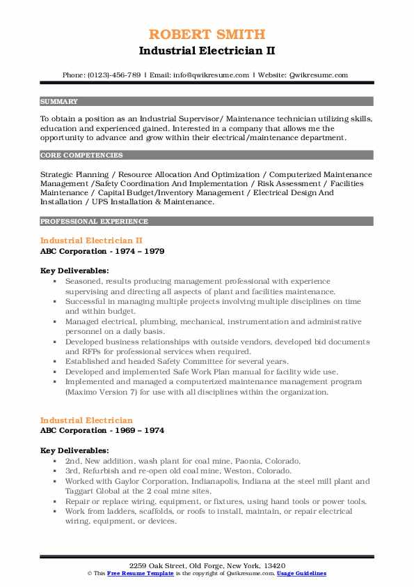 Industrial Electrician II Resume Sample