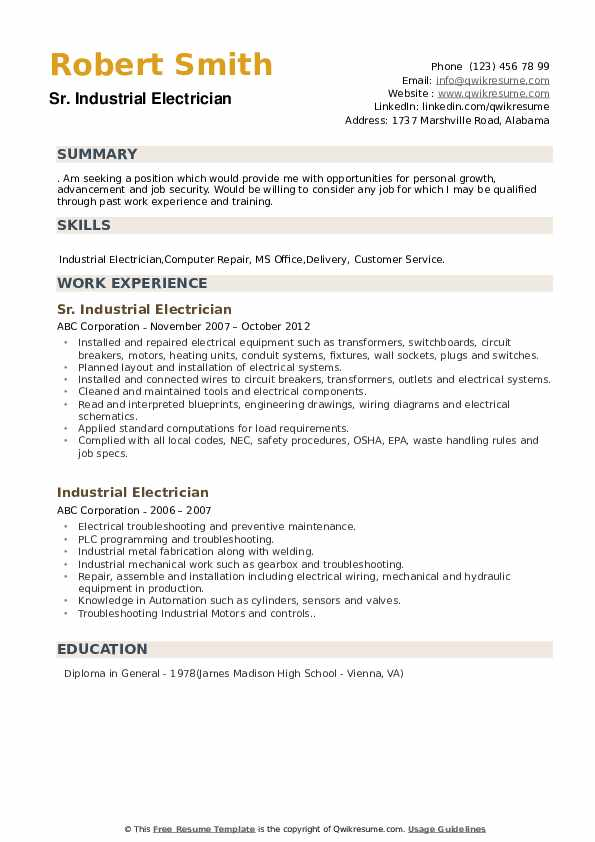 Industrial Electrician Resume Samples | QwikResume