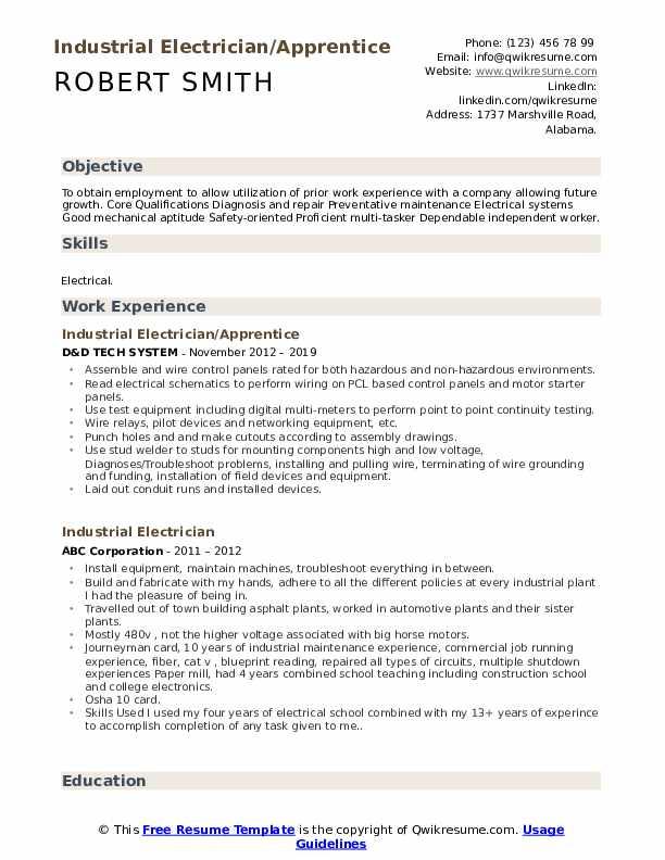 Industrial Electrician/Apprentice Resume Sample